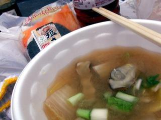 豊前の一粒牡蠣ツーリング 牡蠣の味噌仕立ての潮汁